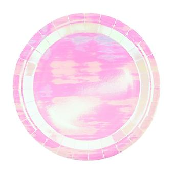 6 Iridescent Large Paper Party Plates
