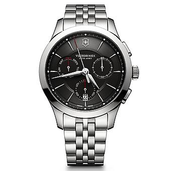 Victorinox Swiss Army Alliance Chronograph Black Dial Silver Stainless Steel Bracelet Men's Watch 241745