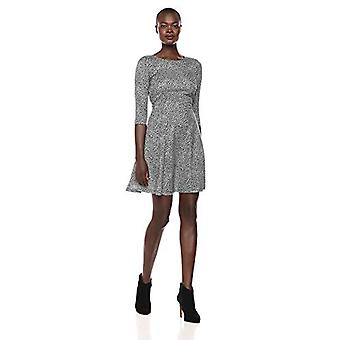 Brand - Lark & Ro Women's Three Quarter Sleeve Knit Fit and Flare Dres...