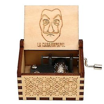 Beautiful Engraved Wooden Hand Crank Music Box
