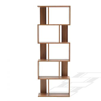 Rebecca Muebles Shelf Biblioteca 5 Estantes Marrones Modernos Madera 172.5x60x24.5