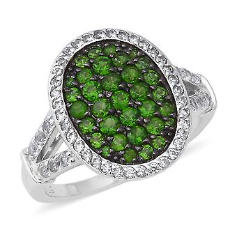 Cluster Diopside Ring for Women Sterling Silver White Zircon, 2.33 Ct TJC