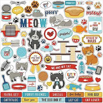 Echo Park Jeg elsker katten min 12x12 tommers element klistremerke