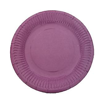 10PCS 7 Inch Solid Color Circle Tray Purple