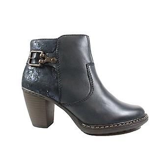 Rieker 55292-14 Navy Leather Womens Heeled Ankle Boots