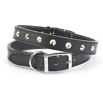 Ancol Studded Leather Collar - Black - Size 5 (20 inch)