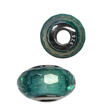 Charmes De Memoire Teal Murano Style Glass Bead Charm in Platinum Over Silver
