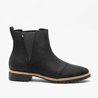 TOMS Cleo Ladies Leather Ankle Boots Black