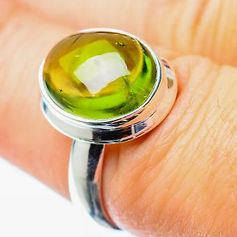 Peridot Ring Size 6.75 (925 Sterling Silver)  - Handmade Boho Vintage Jewelry RING25739