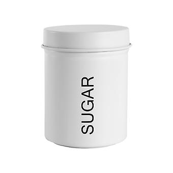 Vintage Sugar Storage Canister - Metal Round Jar Hermético Sello - Blanco Mate