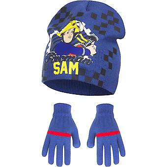 Fireman sam boys hat and gloves set