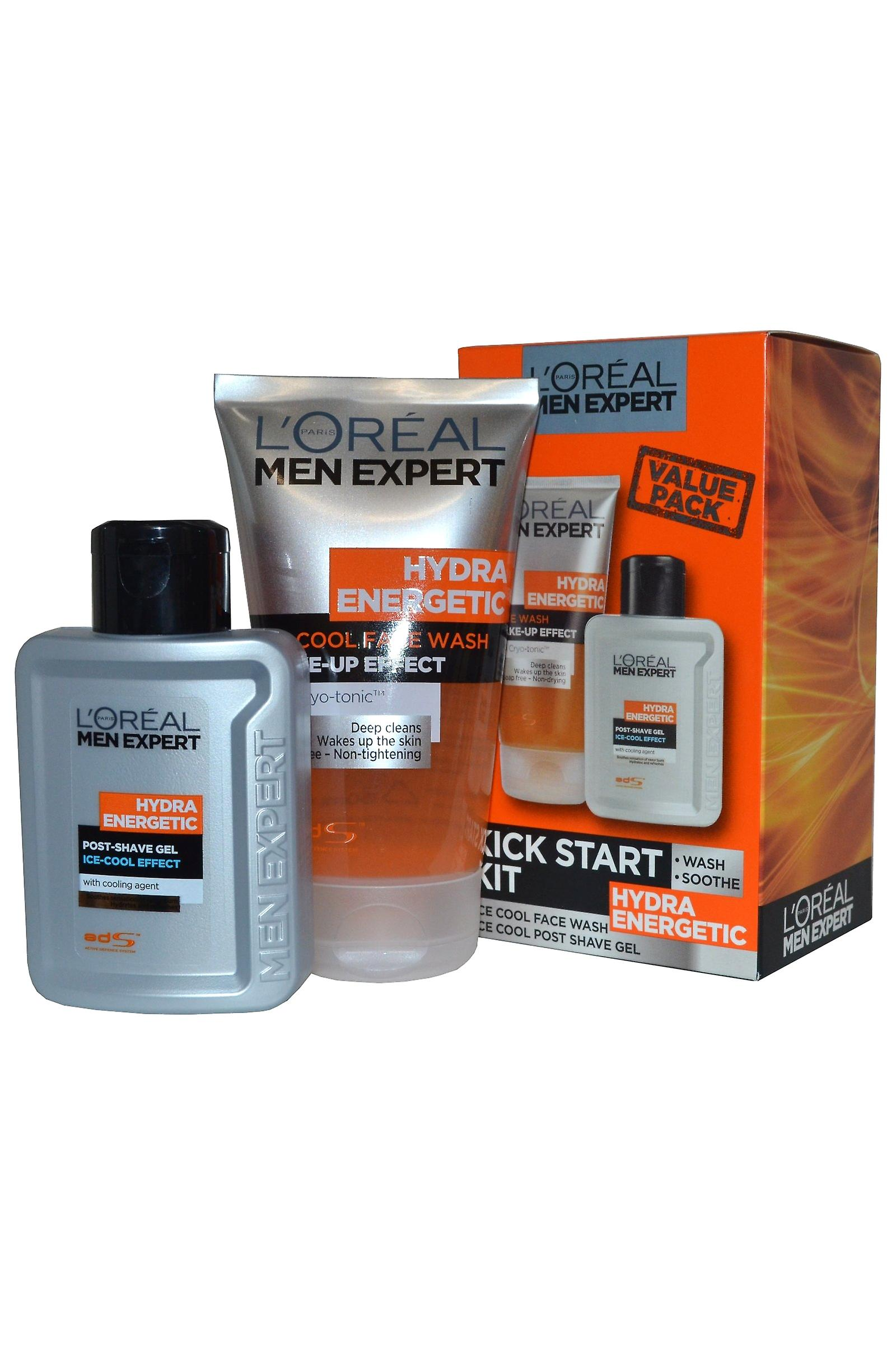 Men Expert by L'Oreal Kick Start Kit Hydra Energetic Face Wash and Post Shave Gel