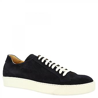 Leonardo Shoes Men's handmade casual round toe sneakers shoes in blue suede leather