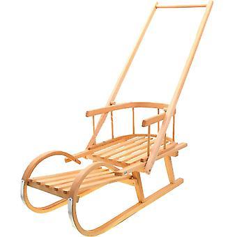 Trineo de madera con respaldo y empujador de trineo