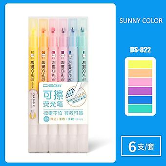 6 Colors Erasable Highlighters, Pastel Markers Dual Tip Fluorescent Pen For Art