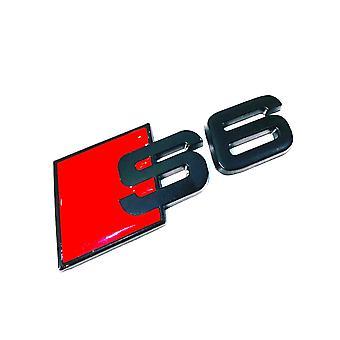 Matt Black/Red Metal Audi S6 Rear Boot Lid Trunk Badge Emblem Stick On