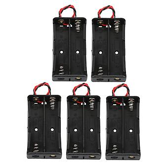 5pcs Black Battery Holder Boxs Container Two Wire Double Battery Plastic