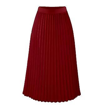 Women's Summer Plisovaný šifon elastický pas dvouvrstvý dlouhý midi sukně