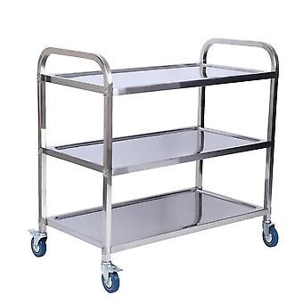 Tiers Kitchen Catering Rolling Trolley Cart Stainless Steel Storage Rack Holder