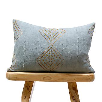 Mudcloth Rust Pattern On Blue Grey Pillow Cover