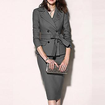 Women Suit Casual Blazer, Collar Button Long Sleeve Zipper Skirt