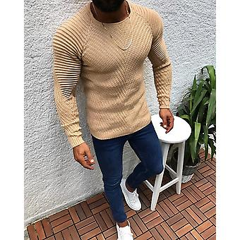 Men's Slim Fit O-neck Sweater, Male High Street Pleated Sweaters, Pullover