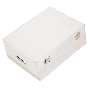 Boîte en bois de lavage blanc de 36cm