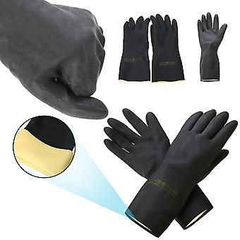 2pcs Heavy Duty, Natural Rubber Gloves -acid Alkali Resistant For Garden