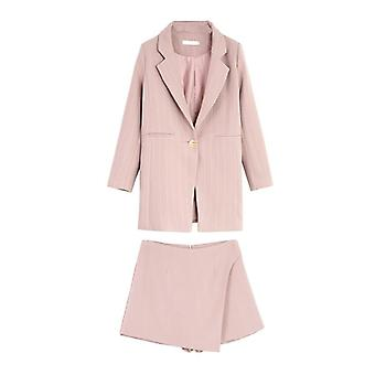 Fashion Women Skirt Suits One Button Notched Striped Blazer Chaquetas