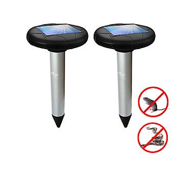 2 Pack Solar Powered Pest Repeller Deterrent For Moles, Gophers, Snakes, Mice Safe