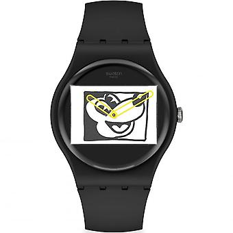 Swatch Suoz337 Mickey Blanc Sur Noir Sort Silikone Watch