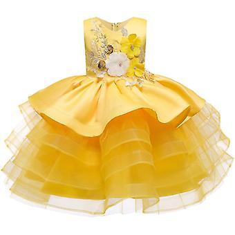 Kleine Kinder Satin stilvolle Kommunion Kleider Glitzer Kugeln Kleid Pageant Blume