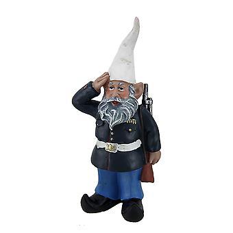 8 inch G.I. George Saluting U.S. Marine Dress Blues Military Garden and Shelf Gnome Statue Patriotic Decor