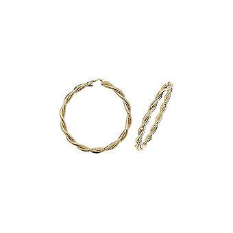 Eternity 9ct Gold Grote Ronde 50mm Twisted Creoolse Hoop Oorbellen