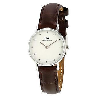 Daniel Wellington 0923DW Clase Bristol Blanco Dial Marrón Cuero Damas Reloj