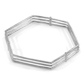 ANCHOR & CREW Walton Tri-Rail Maxi geometrische Silber Armreif w / Diamanten