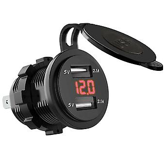 Dual Usb Charger Socket Waterproof Power Outlet 2.1a 2.1a With Voltmeter & Wire