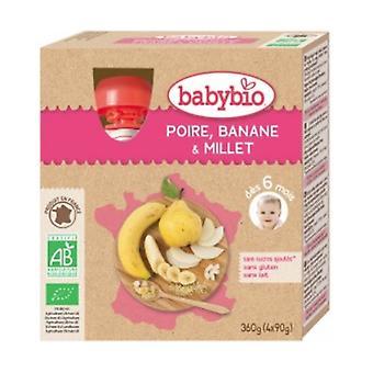 Banana Pear Millet Organic Bottle 6 Months 4 units of 90g