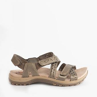 Earth Spirit Hampton Ladies Leather Sports Sandals Platinum