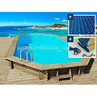 "Piscina de madera ""Ibiza"" - 8.57 x 4.57 x 1.31 m - Cubierta burbuja 180 µ - Cubierta de invierno 280 g/m2"