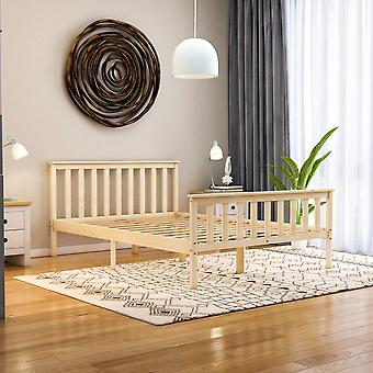 Milan Double Wooden Platform Bed High Foot End 4ft6, Pine