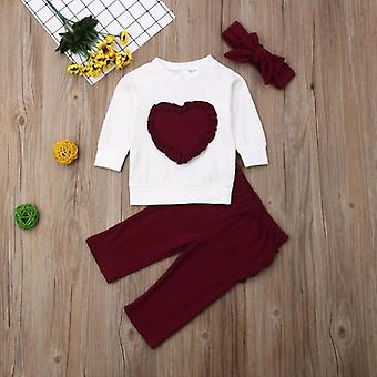 Baby Red Heart Set Kids Cotton Hooded Sweatshirt Tops Long Outfit Set Clothes