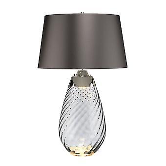 2 Lampe légère de grande table de fumée, verre smoke-teinté, ombre d'ardoise, E27