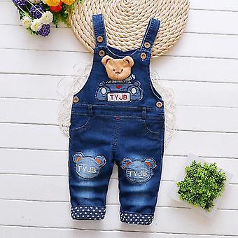 Salopette Denim Cotton, Casual Suspender Pants, Cartoon Bear Trousers