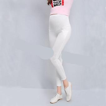 Solid Cotton Pants, Women High Waist Adjustable Belt Modal Pregnancy Trousers