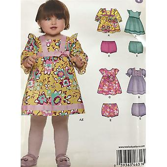 New Look Sewing Pattern 6316 Girls Childs Infant Dress Bloomers Size NB-L Uncut