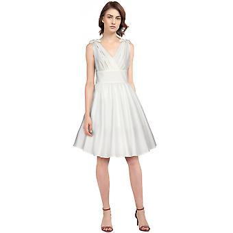 כוכב שיק פלוס גודל עניבות רטרו שמלה בלבן