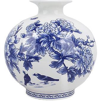 داليا الطيور في الفاوانيا بوش الأزرق والأبيض زهرية زهرة العظام