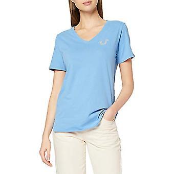 True Religion Vneck Tshirt Reflective HORSESHOELICHEN Camiseta, Azul (Lichen Blue 4032), (Tamaño Fabricante: XS) Mujer
