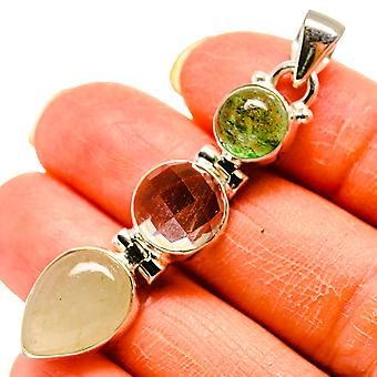 "Prehnite, White Quartz, Green Tourmaline Pendant 2"" (925 Sterling Silver)  - Handmade Boho Vintage Jewelry PD759225"